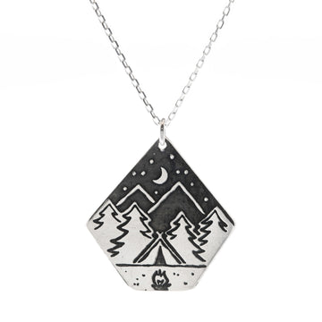 Campfire Night Large Sterling Silver Necklace