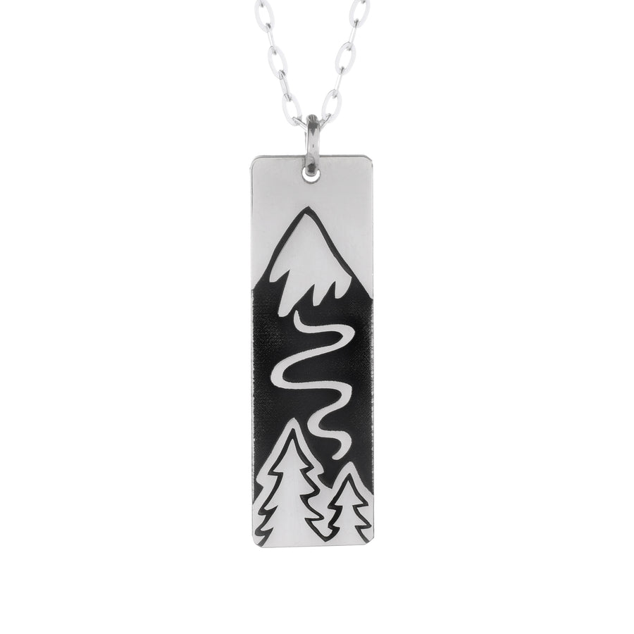 Winter Ski Slope Wide Bar Necklace