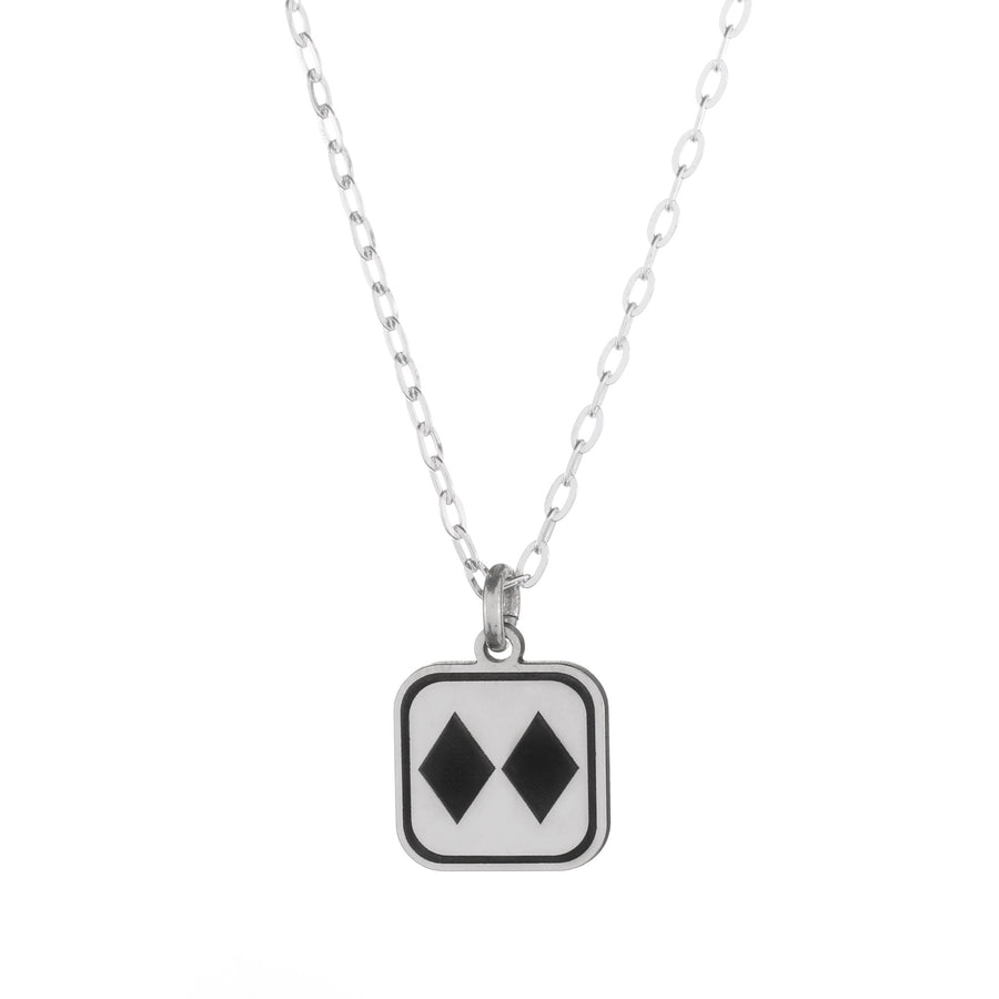 Double Black Diamond Sign Necklace