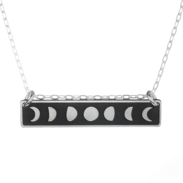 Moon Phases Horizontal Bar Necklace