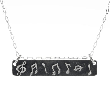 Musical Notes Horizontal Bar Necklace