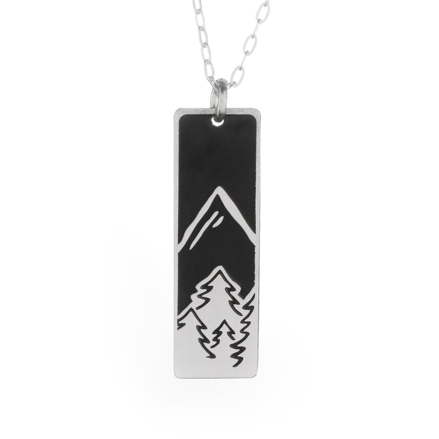 Pine Trees Skinny Vertical Bar Necklace