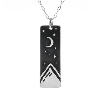 Mountain Peak Wide Bar Necklace