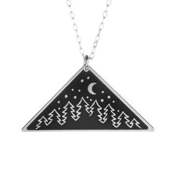Forest Night Wilderness Medium Triangle Necklace