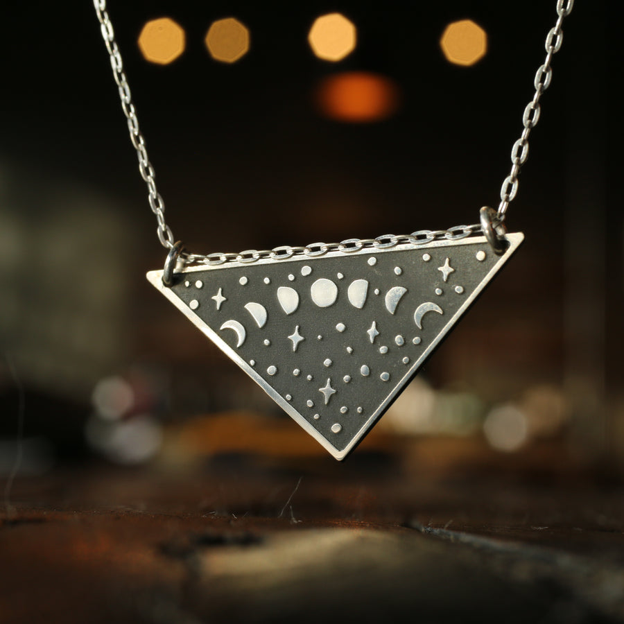 Moon Phases Triangle Necklace