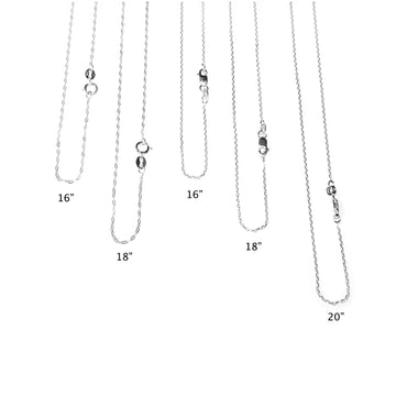 Sterling silver chain. 16, 18, 20