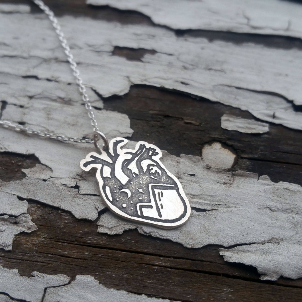 Anatomical Heart with Mountains and Stars, Sterling Silver Large Pendant Necklace