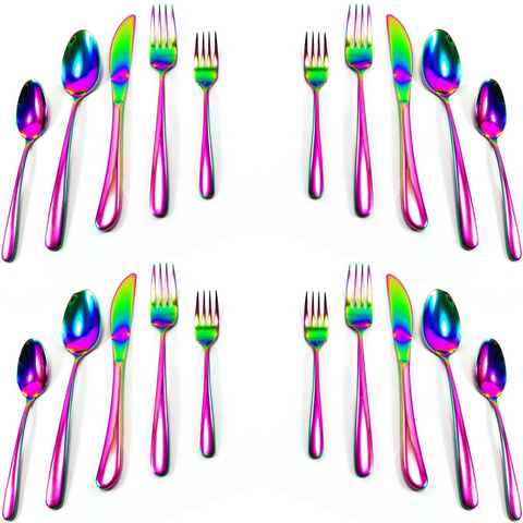 GREAT SPIRIT WARES Colorful Utensil Set (20 Piece Set, Service For 4) Iridescent Stainless Steel Colored Knife, Spoon and Fork Flatware Set - Multicolor Rainbow Silverware For Dinner or The Kitchen