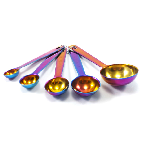 GREAT SPIRIT WARES Colorful Measuring Spoons Stainless Steel (5 Piece Set) Tablespoon & Teaspoon Measurement Spoons - Iridescent Rainbow Colored Silverware For Cooking, Baking and The Kitchen