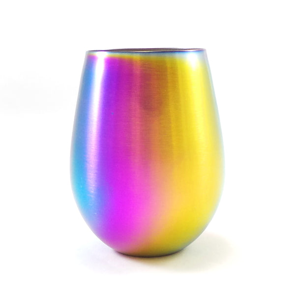 GREAT SPIRIT WARES Colored Stemless Wine Glasses Set (4 Piece Set, 18 oz) Iridescent Stainless Steel Rainbow Drinking Glassware Set - Multicolor Decorative Glasses For Birthday Parties, Weddings, Holi