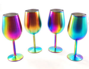 GREAT SPIRIT WARES Colored Wine Glasses With Lids (4 Piece Set) Iridescent Stainless Steel Rainbow Drinking Glassware Set - Multicolor Decorative Stem Glasses For Birthday Parties, Weddings, Holidays