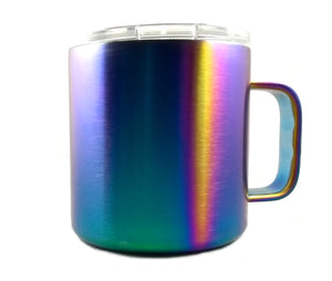 Iridescent Stainless Steel Shatterproof Rainbow Colorful Insulated Travel Coffee Mug, Lid Included