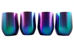 Rainbow Stemless Stainless Steel Insulated Wine Glasses (4 Piece Set) Iridescent Tumblers Colorful Drinking Glassware Set, Lids Included