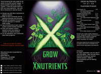 X Nutrients Grow Nutrients Label