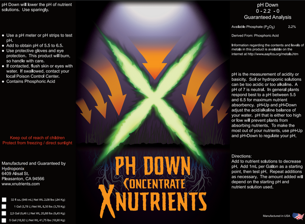 X Nutrients pH Down Label