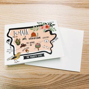 Iowa Map Full Color Note Card
