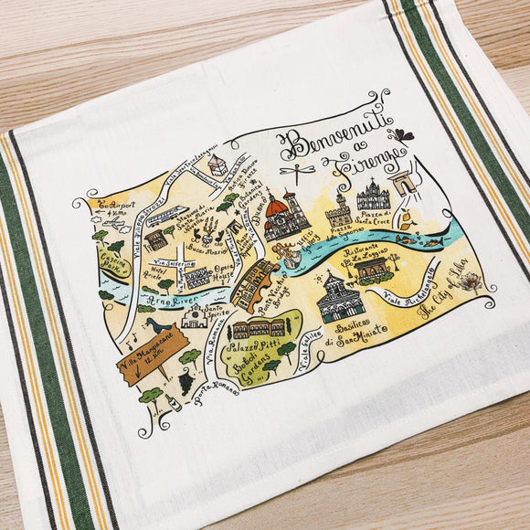 Florence Map Large Bamboo Cutting Board
