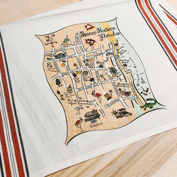 Boca Raton, Florida Map Kitchen/Tea Towel