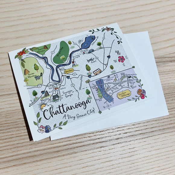 Chattanooga, TN Map Full Color Note Card