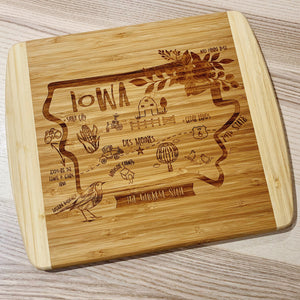 Iowa State Map Large Bamboo Cutting Board