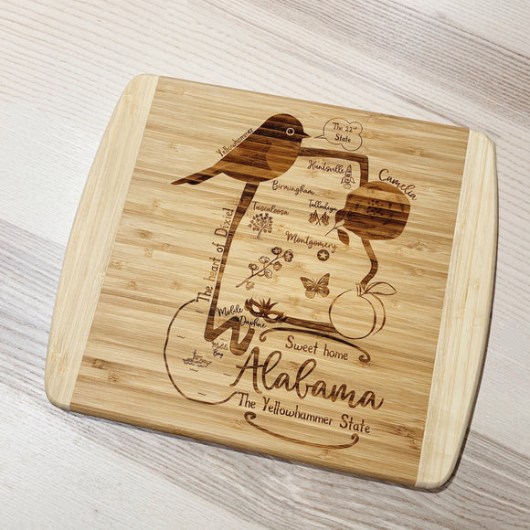 Alabama State Map Small Bamboo Cheese Board