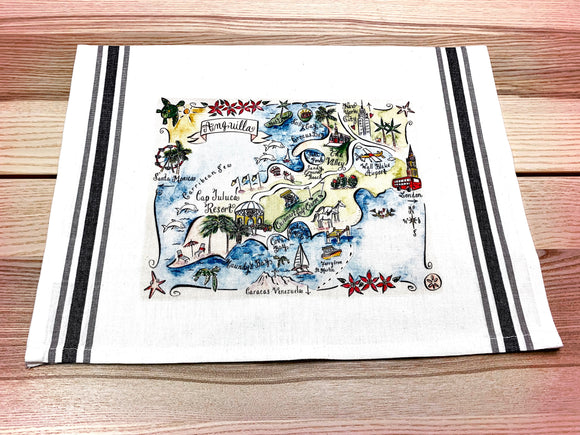Anguilla Map Large Bamboo Cutting Board