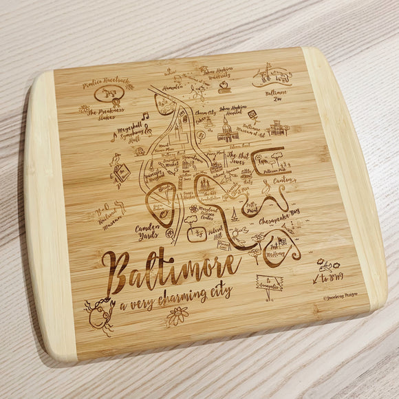 Baltimore Map Small Bamboo Cheese Board