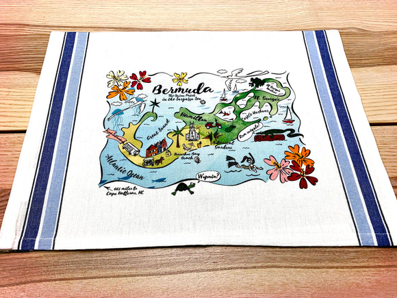 Bermuda Map Rectangle Pillow