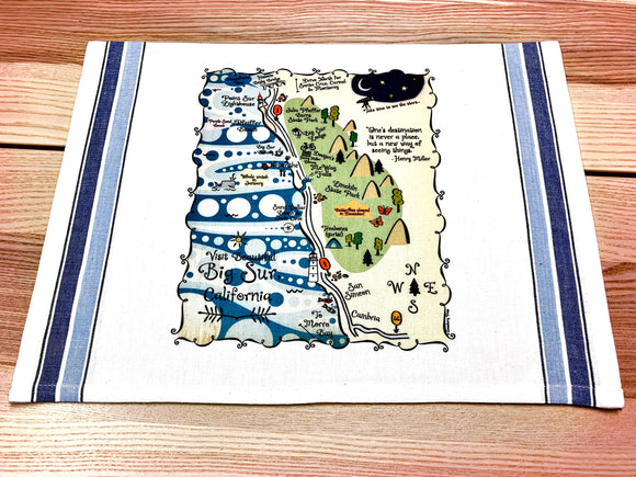 Big Sur Map Small Bamboo Cheese Board
