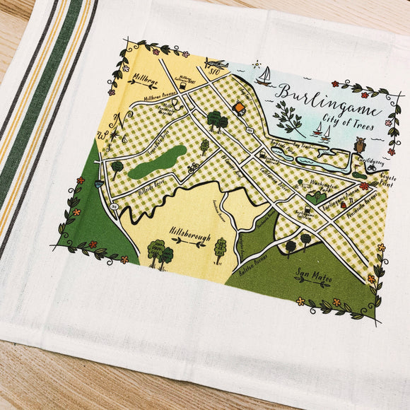 Burlingame Map Kitchen/Tea Towel