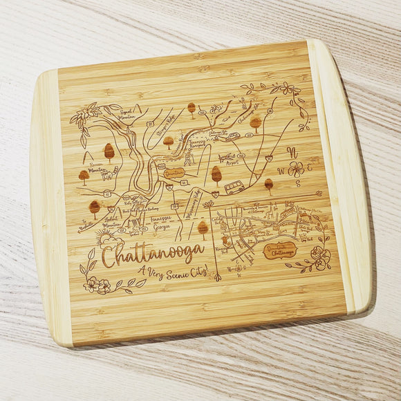 Chattanooga, TN Map Small Bamboo Cheese Board