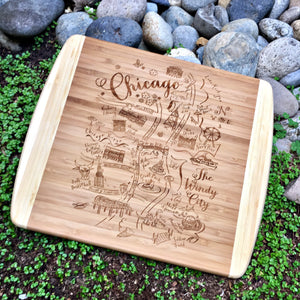 Chicago Summer Map Large Bamboo Cutting Board