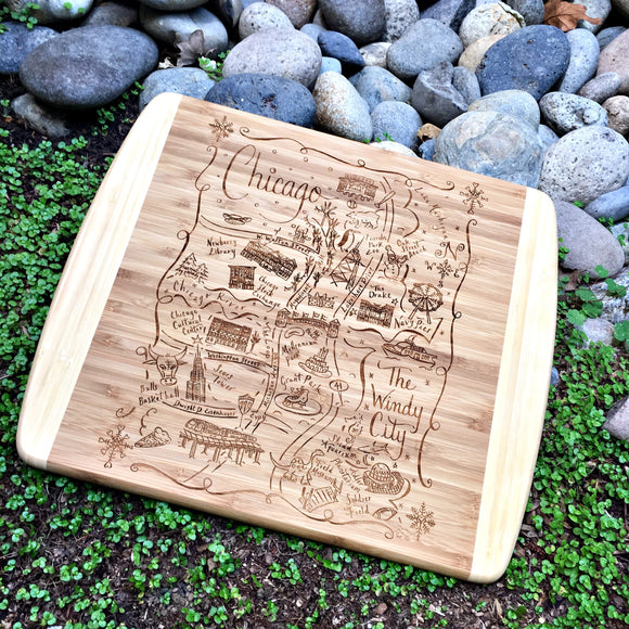 Chicago Winter Map Small Bamboo Cheese Board