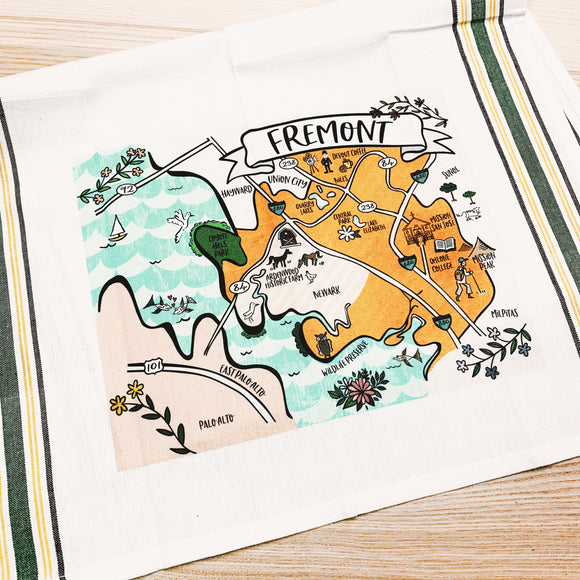 Fremont City Map Tea Towel/Kitchen Towel