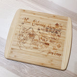Chapel Hill/Carrboro Map Small Bamboo Cheese Board