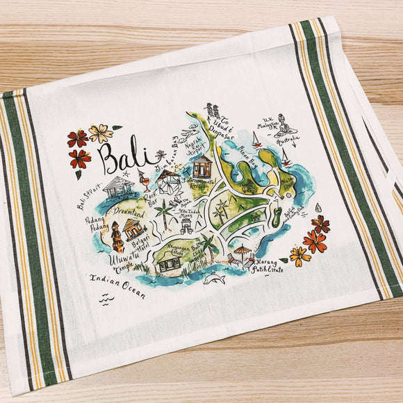Bali Map Kitchen Tea Towel