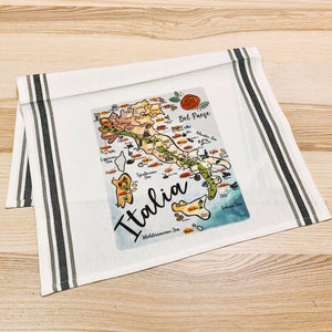 Italy Map Kitchen Tea Towel