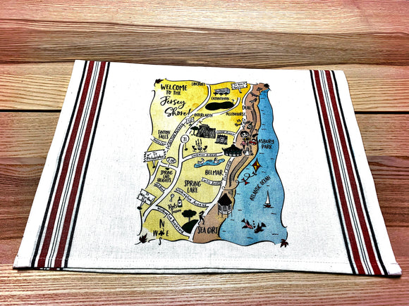 Jersey Shore (Design 2) Map Square Pillow