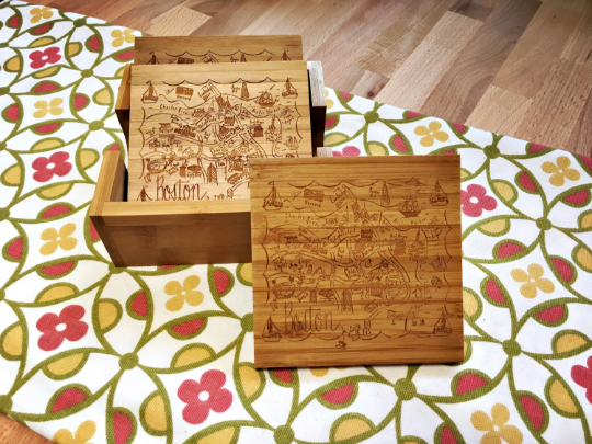 Boston Map Bamboo Coaster Set