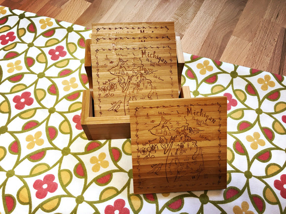 Michigan Bamboo Coaster Set
