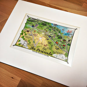 SF Peninsula Map Art Print