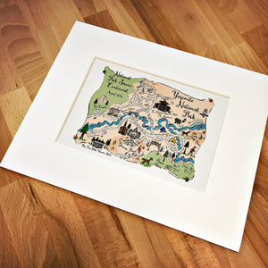 Yosemite National Park Map Art Print