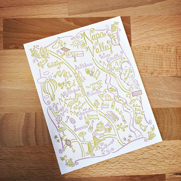 Napa Valley and Sonoma Map Letterpress Postcard/Save the Date Cards
