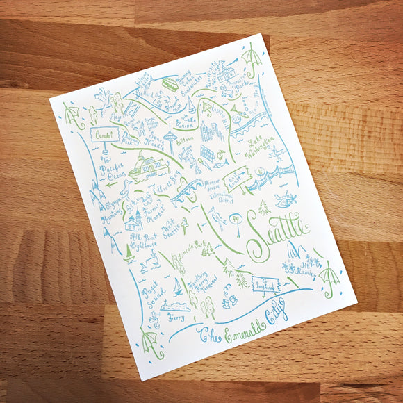 Seattle City Map Letterpress Postcard/Save the Date Cards