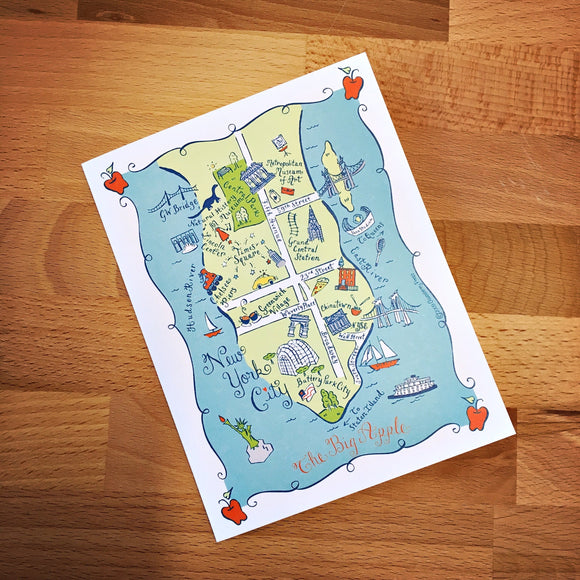 Manhattan Map Full Color Note Card