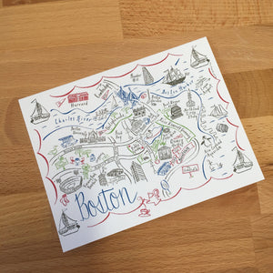 Boston City Map 4 Color Note Card