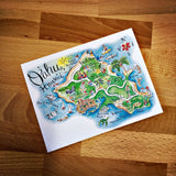 Oahu, Hawaii  Map Full Color Note Card