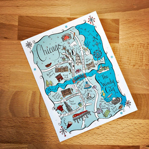 Chicago City Map Full Color Note Card