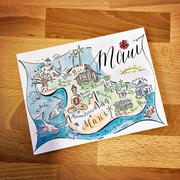 Maui Map Full Color Note Card