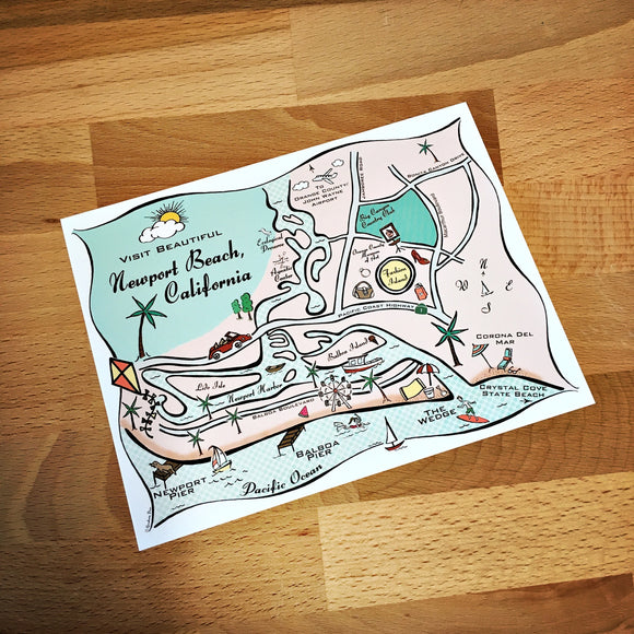 Newport Beach Map Full Color Note Card
